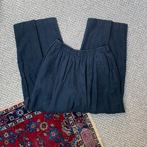 Eskandar Linen Wide Leg Capri Pants